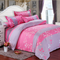 3 Or 4pcs Pink Leaves Cotton Blend Paint Printing Bedding Sets Twin Full Queen Size