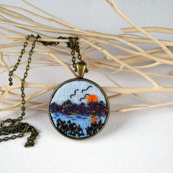 Landscape necklace. Sunset.  Embroidered pendant, Embroidery. embroidery countryside Embroidered jewelry Embroidered necklace, needle work.