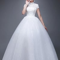 High Collar Lace A-line Wedding Gown