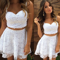 Two piece set women casual white or black lace dress