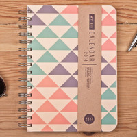 2014 Weekly Planner Calendar Diary Day Spiral A5 Triangle Agenda Day Planner - Great Valentine's day Gift Idea