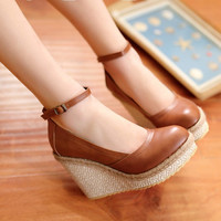 Vintage Pu Leather Platform High Heels Women Shoes Fashion Ankle Strap Wedges Shoes For Women Elegant Ladies Office Shoes 34-43