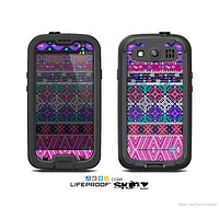 The Pink & Teal Modern Colored Aztec Pattern Skin For The Samsung Galaxy S3 LifeProof Case