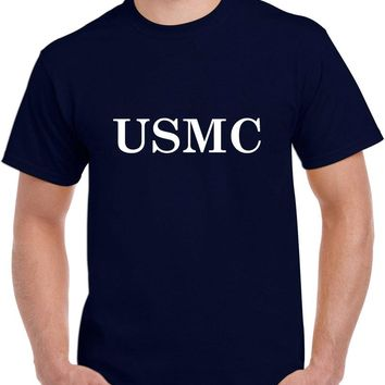 Men's United States Marine Corps Heavy Cotton Classic Fit Round Neck Short Sleeve T-Shirts – S ~ 3XL