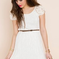 Pleated Crochet Dress in  Clothes at Nasty Gal