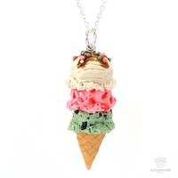 Scented Triple Scoop Ice Cream Cone Necklace