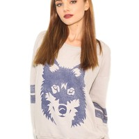Wildfox Vintage Wolf Oversized Sweater in Morning Mist