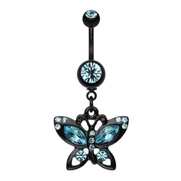 Blackline Butterfly Sparkle Belly Button Ring