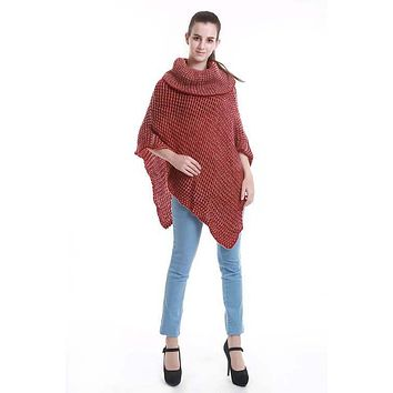 Two-Tone Turtleneck Poncho -  3 Colors