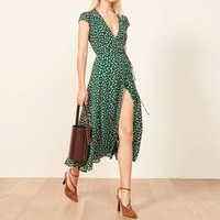 V Neck Elegant Long Dresses Women Vintage Polka Dot Party Beach Sexy Sundress Female Black Midi Dresses Ladies