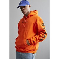 Champion Joint sugarcoat cannonball long sleeve multi-label printed hoodie Orange red