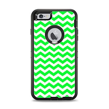 The Green & White Chevron Pattern Apple iPhone 6 Plus Otterbox Defender Case Skin Set