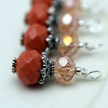 Vintge Style Coral and Peach Crystal Ornate Bead Dangle Charm Drop Set