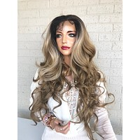 """Brown Blonde SWISS Lace Front Wig 26"""" - Rihanna"""
