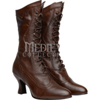 Vows Wingtip Kidskin Victorian Boots - FW4006 by Medieval Collectibles