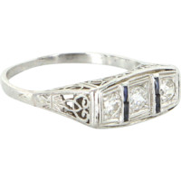 Vintage Art Deco 900 Platinum 3 Stone Diamond Sapphire Filigree Ring Estate Fine