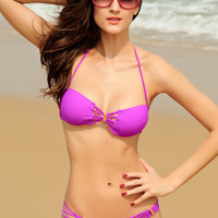 Purple Padded Cut Out Bikini Set