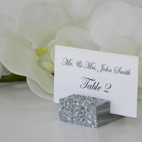 Silver Glitter Place Card Holder