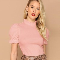 Frill Neck Puff Sleeve Solid Tee Elegant T-shirts Women Short Sleeve Tops Casual Trim Female T-shirt