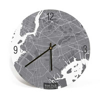 New York City, State of New York, Map Art Wall Clock