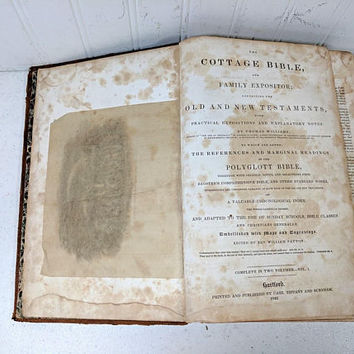 The Cottage Bible And Family Expositor 1842 Embellished with Maps & Engravings Collectible Aged Worn Leather Bible for Display Crafts Props