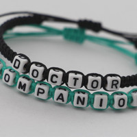 Doctor Who Inspired Bracelets, Time Lord Companion Bracelets, Doctor Companion, Couples Bracelets, Mint Green Teal Black Friendship Gifts