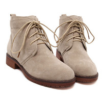Beige Suedette Lace Up Ankle Boots