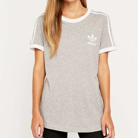 adidas 3 Stripe Grey Tee - Urban Outfitters