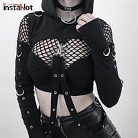 InstaHot Black Cold Shoulder Hooded Hoodies Women Gothic Sexy Autumn Long Sleeve Crop Tops Lady Cool Chain Fashion Clothes Loose