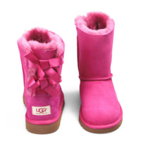 UGG:: bow leather boots boots in tubeb cute two bowknot Fresh Rose
