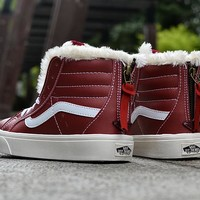 Vans Claret High Top Leather With Fur Warm Casual Zipper Sneakers Sport Shoes