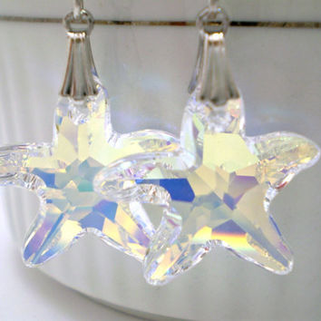 Starfish Crystal Earrings AB Color on Sterling Silver by justByou