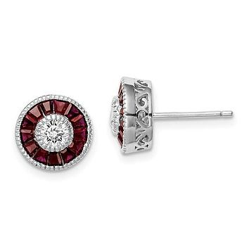 Sterling Silver Round Created Ruby & CZ Halo Post Earrings