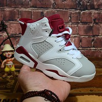 Air Jordan 6 Retro Alternate White Pure Platinum-Gym Red Child Sneaker Toddler Kid Shoes - Best Deal Online