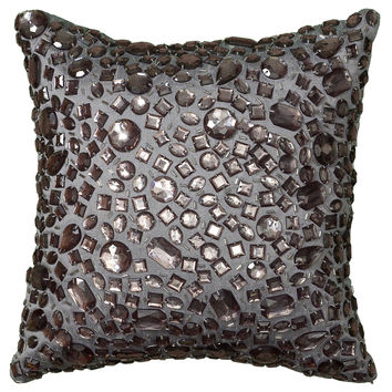 """Applique of Large Crystal Beads Silver Pillow Cover (12"""" x 12"""")"""