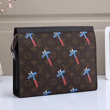 LV Louis Vuitton Colorblock Letter Printing Cosmetic Bag Clutch Briefcase #3