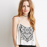 Grey Totem Print Strappy Cropped Top with Back Crossover Strap