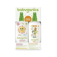 Babyganics Mineral-Based Baby Sunscreen Spray SPF 50, 6oz Spray Bottle + Natural Insect Repellent 6oz Spray Bottle Combo Pack