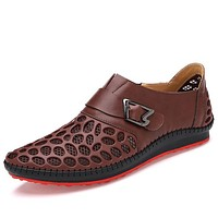 Men Shoes Casual Genuine Leather Shoes Mens Luxury Brand Summer Leisure Breathing Flats For Men New Zapatos Hombre