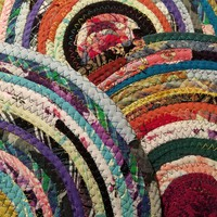 Colorful Round Rag Rug, Made to Order Gypsy Hippie Boho Bohemian Color, Upcycled Handmade