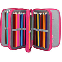 Trasfit 72 Pencil Holder Colored Pencils Case, Large Capacity Multi-layer Students Pen Holder Pen Bag Pouch Stationary Case for School Office Art Craft, Pencil Bag for Travel (ROSE RED)