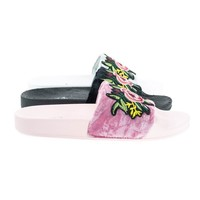 Yoshi Mauve Pink By Soda, Furry Floral Embroidery Patch Work, Slip On Slide Sandal Molded Footbed