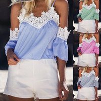 Fashion Stripe Lace Stitching Strapless Short Sleeve Strap Tops