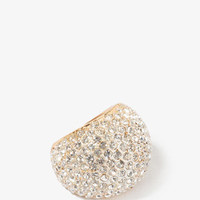 Rhinestoned Hollow Dome Ring