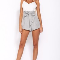Draw The Line Playsuit Grey