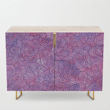 Hot pink and purple swirls doodles Credenza by savousepate