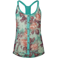 Lottie & Holly Floral Racerback Womens Sleeveless Top Multi  In Sizes
