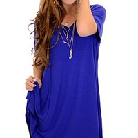 Vneck Tshirt Dress, Cobalt