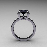 AMAZING 2.12CT BLACK PRINCES CUT 925 STERLING SILVER ENGAGEMENT AND WEDDING RING