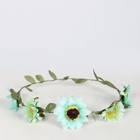 Sunflower Daisies Flower Crown - Seafoam